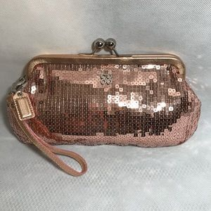 Coach Special Edition Rose Gold Sequin Wristlet